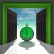 Stopwatch in green doorway with sky — 图库照片
