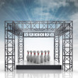 Show stage with ninepins and sky flare — Stock Photo #28831743