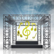 Stock Photo: Show stage with music sounds and sky flare