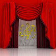 Red curtain scene with music sounds — Stock Photo