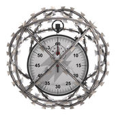 Isolated stopwatch in barbed wire sphere — Stock Photo