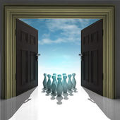 Ninepins in framed doorway with sky — Stock Photo