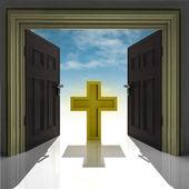 Holy cross in golden framed doorway with sky — Stock Photo