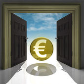 Euro coin in gold framed doorway with sky — Stock Photo