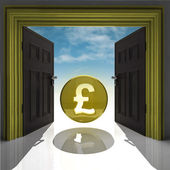 Pound coin in gold framed doorway with sky — Stock Photo