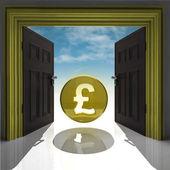 1 英镑硬币在黄金裱门口与天空 — 图库照片
