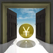 Yen or yuan coin in gold framed doorway with sky — Stock Photo
