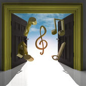Flying music sound through doorway with sky — Stock Photo