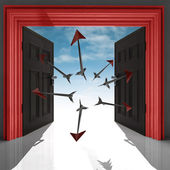 Flying arrows in red doorway with sky — Stock Photo