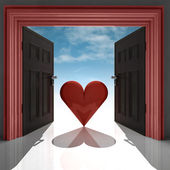 Love heart in red doorway with sky — Stock Photo