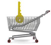 Golden key in shoping cart on white — Stock Photo