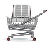 Education book in shoping cart on white — Stock Photo