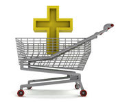 Golden holy cross in shoping cart on white — Stock Photo