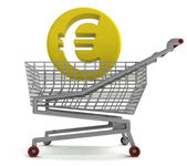 Euro coin in shoping cart on white — Stock Photo