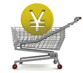 Yuan or yen coin in shoping cart on white — Stock Photo