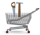 Shoping cart with hammer and saw on white — Stock Photo