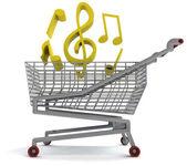 Shoping cart full of music on white — Stock Photo
