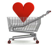 Shoping cart with red heart on white — Stock Photo