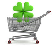 Shoping cart with green cloverleaf on white — Stock Photo
