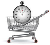 Shoping cart with stopwatch on white — Stock Photo