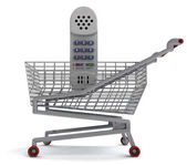 Shoping cart with hand phone on white — Stock Photo