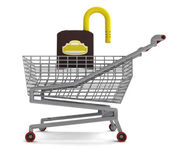 Shoping cart with opened padlock on white — Stock Photo