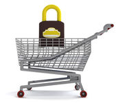 Shoping cart with closed padlock on white — Stock Photo