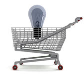 Shoping cart with bubl on white — Stock Photo