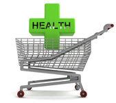 购物车 (有健康十字架上白 — 图库照片