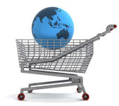 Shoping cart with asia on globe — Stock Photo