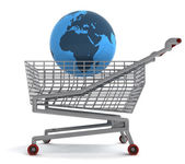 Shoping cart with africa on globe — Stock Photo