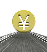 Isolated highway with yen or yuan coin — Stock Photo