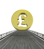 Isolated highway with pound british coin — Stock Photo