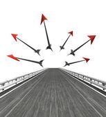 Estrada isolada com setas que voam — Fotografia Stock