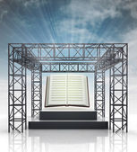 Show stage with education book and sky flare — Stock Photo