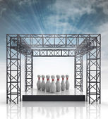 Show stage with ninepins and sky flare — Stock Photo