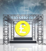 Show stage with british pound coin and sky flare — Stock Photo