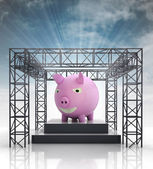 Show stage with pink pig and sky flare — Stock Photo