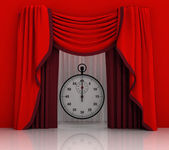 Red curtain scene with stopwatch — Stock Photo