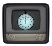 Isolated shiny stopwatch in retro television — Stock Photo