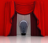 Red curtain scene with shiny bulb — Stock Photo