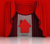 Red curtain scene with red house — Stock Photo