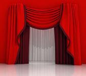 赤いカーテン シーンを閉じる — ストック写真