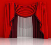 Closed red curtain scene — Stock Photo