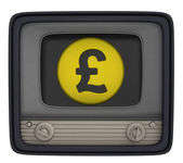 Isolated british pound coin in retro television — Stock Photo