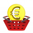 Golden europeunion coin in red basket vector — Stock Vector #29212809