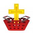 Catholic golden cross in red basket vector — Stock Vector