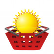Red basket and shiny sun vector — Stock Vector