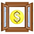 Golden american dollar coin in window frame vector — Stock Vector