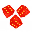 Three dimensional dices with lucky stars vector — Stock Vector